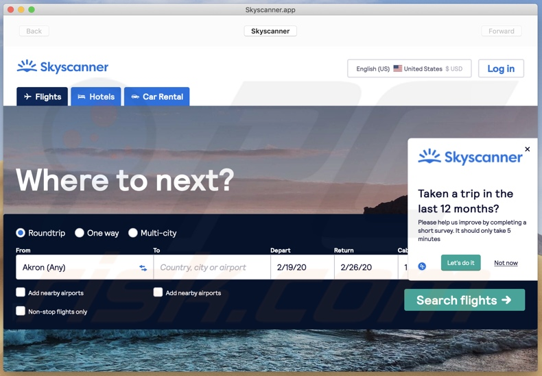 SkyScanner application appearance