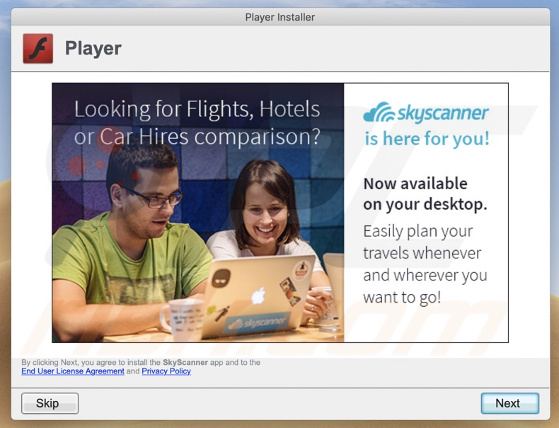 Another dubious installer (fake Flash Payer updater) promoting SkyScanner app