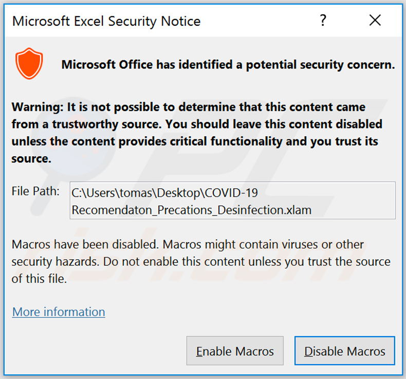 Pop-up asking to enable macro commands once the malicious MS Excel file is opened