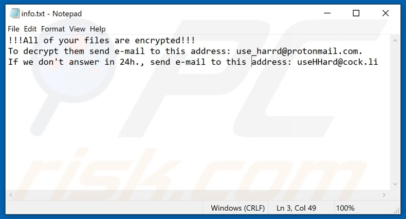 Eight ransomware text file (info.txt)