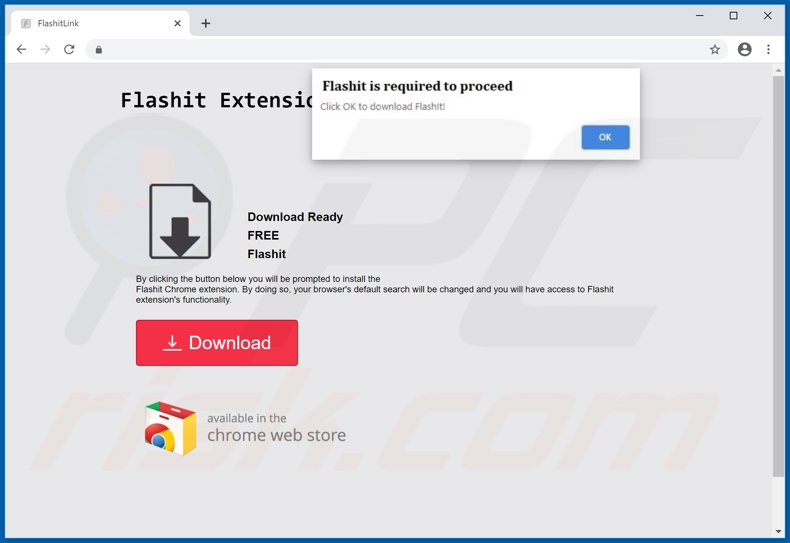 Website used to promote FlashIt browser hijacker