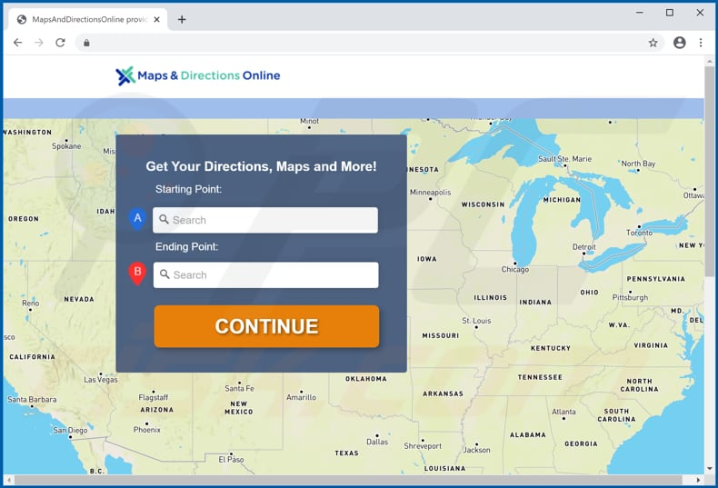 maps and directions online promos adware download page