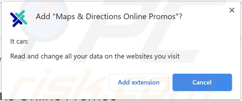 Maps and Directions Online Promos asks for a permissio to be added on chrome