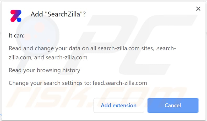 searchzilla browser hijacker asks for a permission to be installed