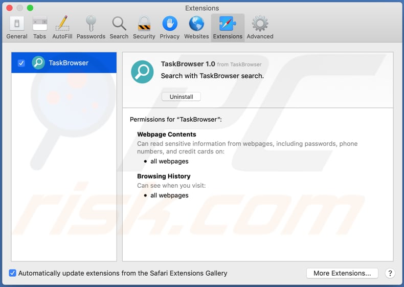 taskbrowser adware installed on safari browser