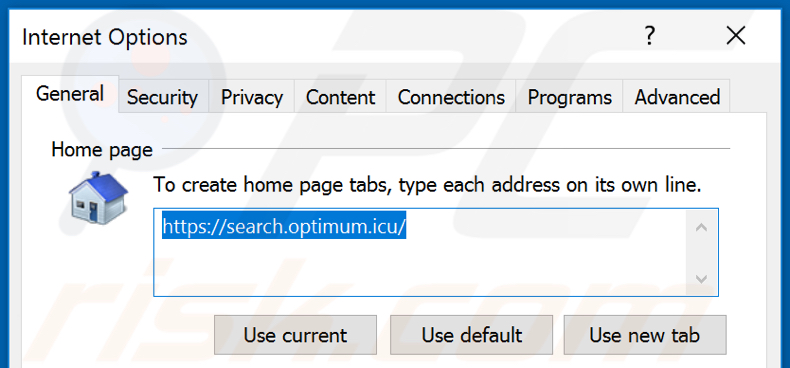 Removing unwanted address from Internet Explorer homepage