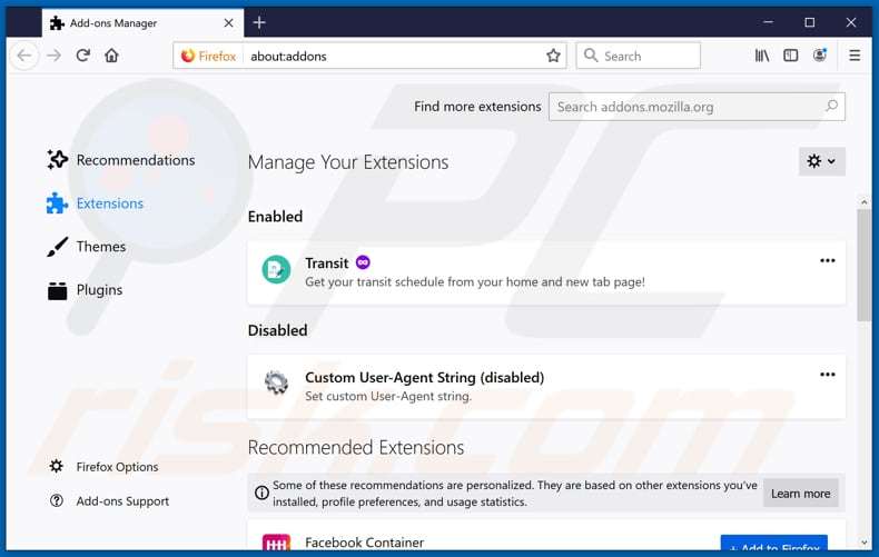 Removing MessengerHub ads from Mozilla Firefox step 2