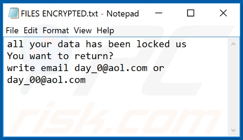 0day0 ransomware text file (FILES ENCRYPTED.txt)