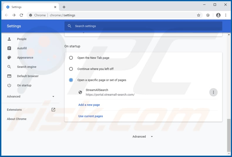 Removing streamall-search.com from Google Chrome homepage
