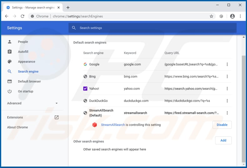 Removing streamall-search.com from Google Chrome default search engine