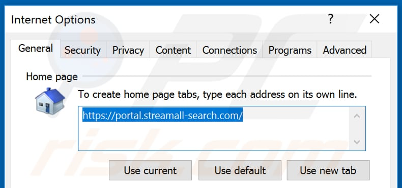 Removing streamall-search.com from Internet Explorer homepage