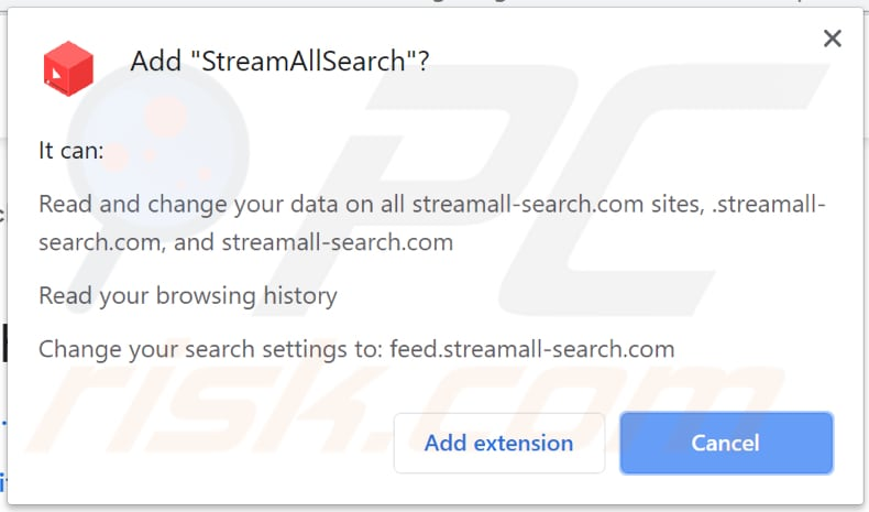 streamallsearch asks for a permission to be installed