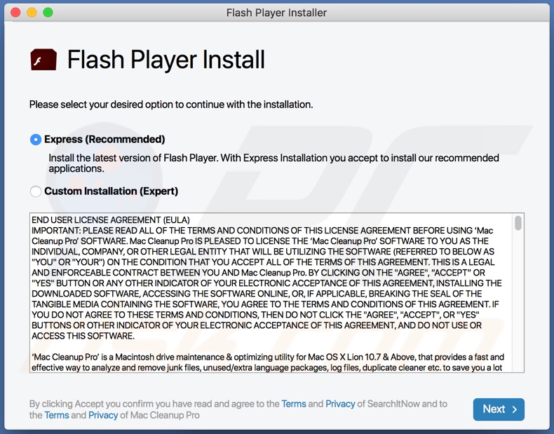 LeadingAdviseSearch adware distributed via fake Flash Player updater/installer