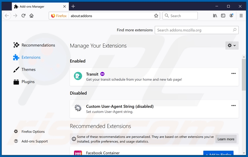 Removing sportshdearchs.com related Mozilla Firefox extensions