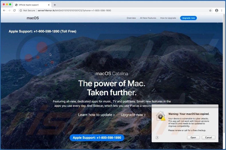Warning: Your macOS has expired scam