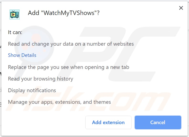 watchmytvshows toolbar notification chrome