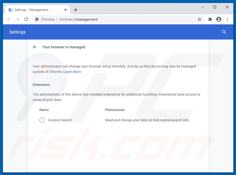 Managed by your organization feature affed to Chrome by  Custom Search browser hijacker