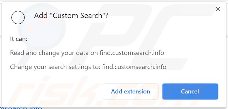 Custom Search browser hijacker asking for permissions