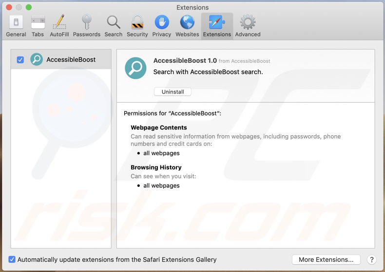 AccessibleBoost adware installed onto Safari