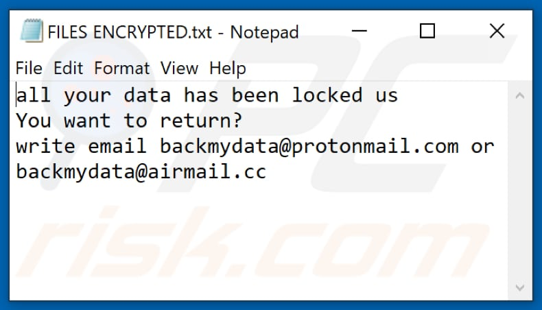 Bmd ransomware text file (FILES ENCRYPTED.txt)