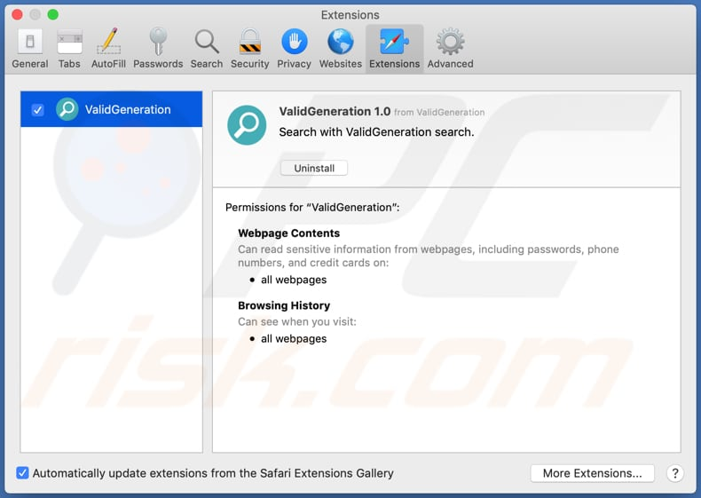 validgeneration adware installed on safari