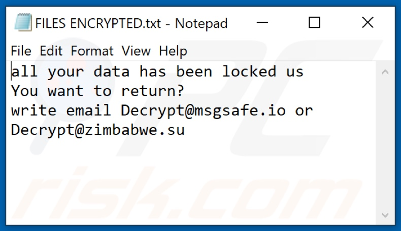 Fichier texte du ransomware Crypt (FILES ENCRYPTED.txt)