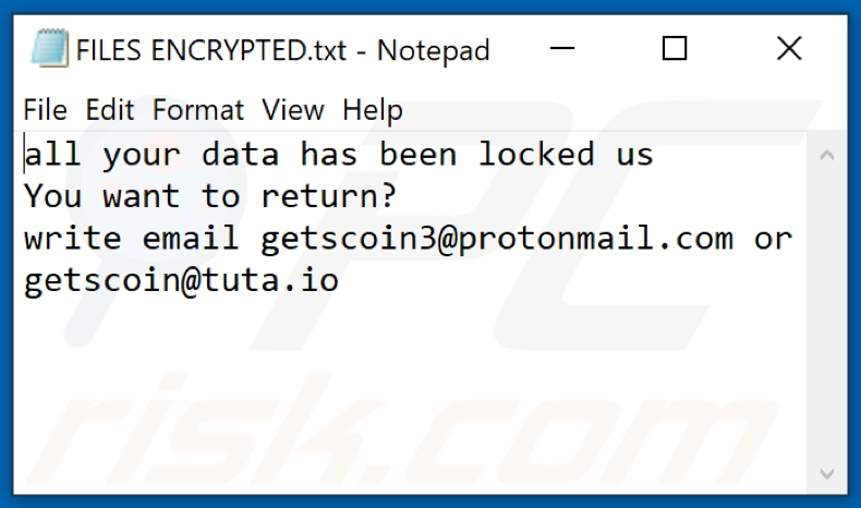 Fichier texte du ransomware GTSC (FILES ENCRYPTED.txt)