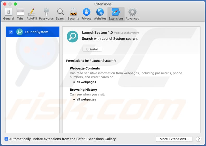 extension safari adware launchsystem