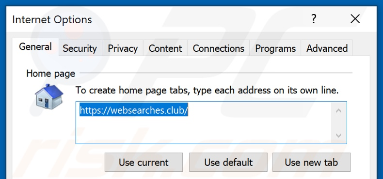 Suppression de websearches.club de la page d'accueil d'Internet Explorer